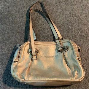 B Makowsky Gold Leather Handbag